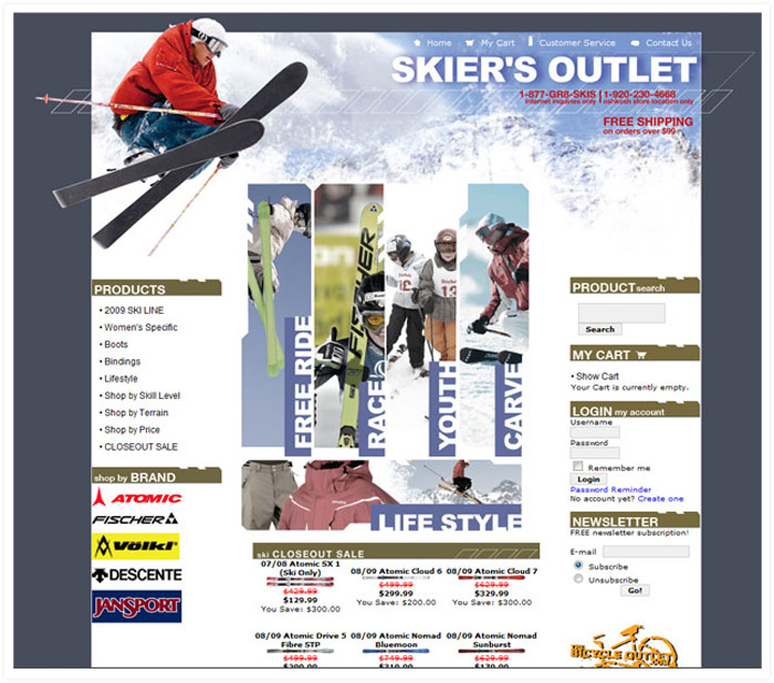 Skier's Outlet website