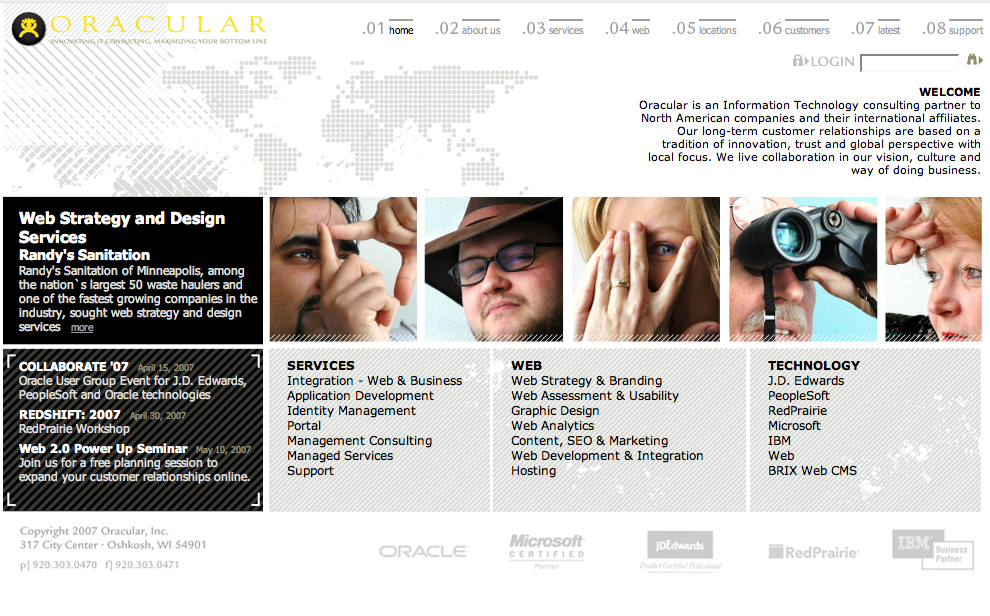 Oracular website design