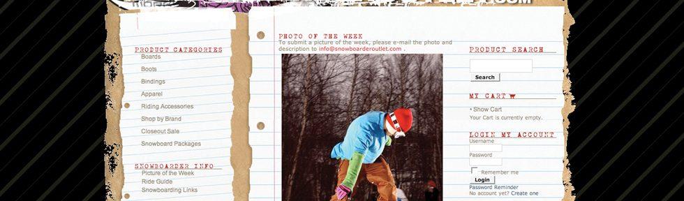 Snowboarder Outlet website design