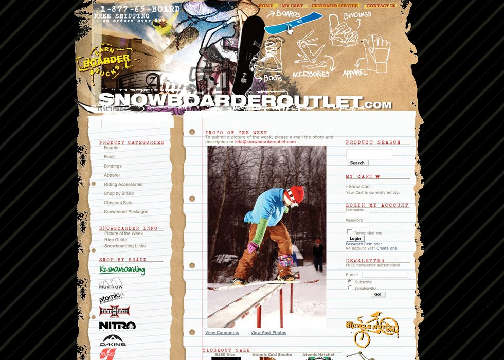 Snowboarder Outlet website design