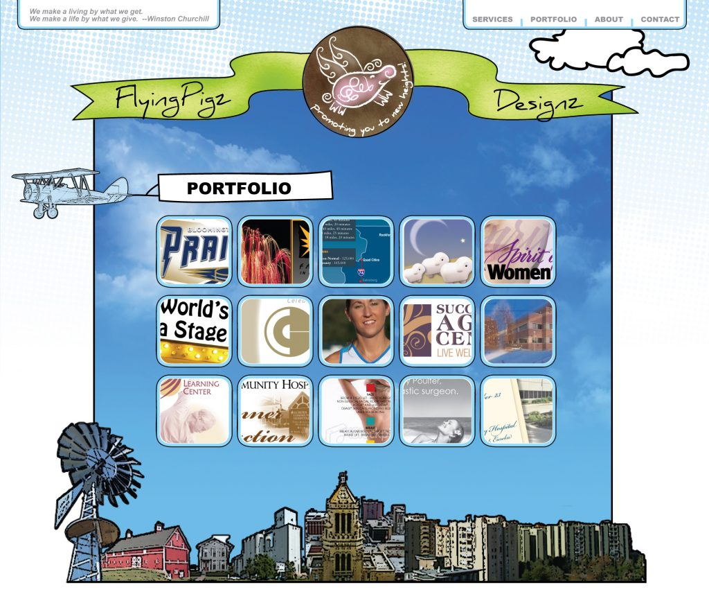 Flying Pigz Designz website design inside page