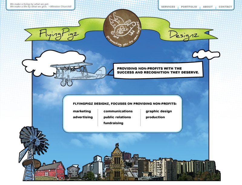 Flying Pigz Designz website design concepts