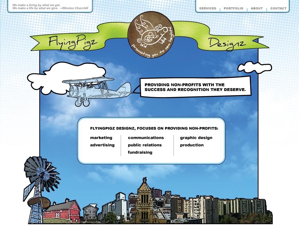 Flying Pigz Designz website design concepts