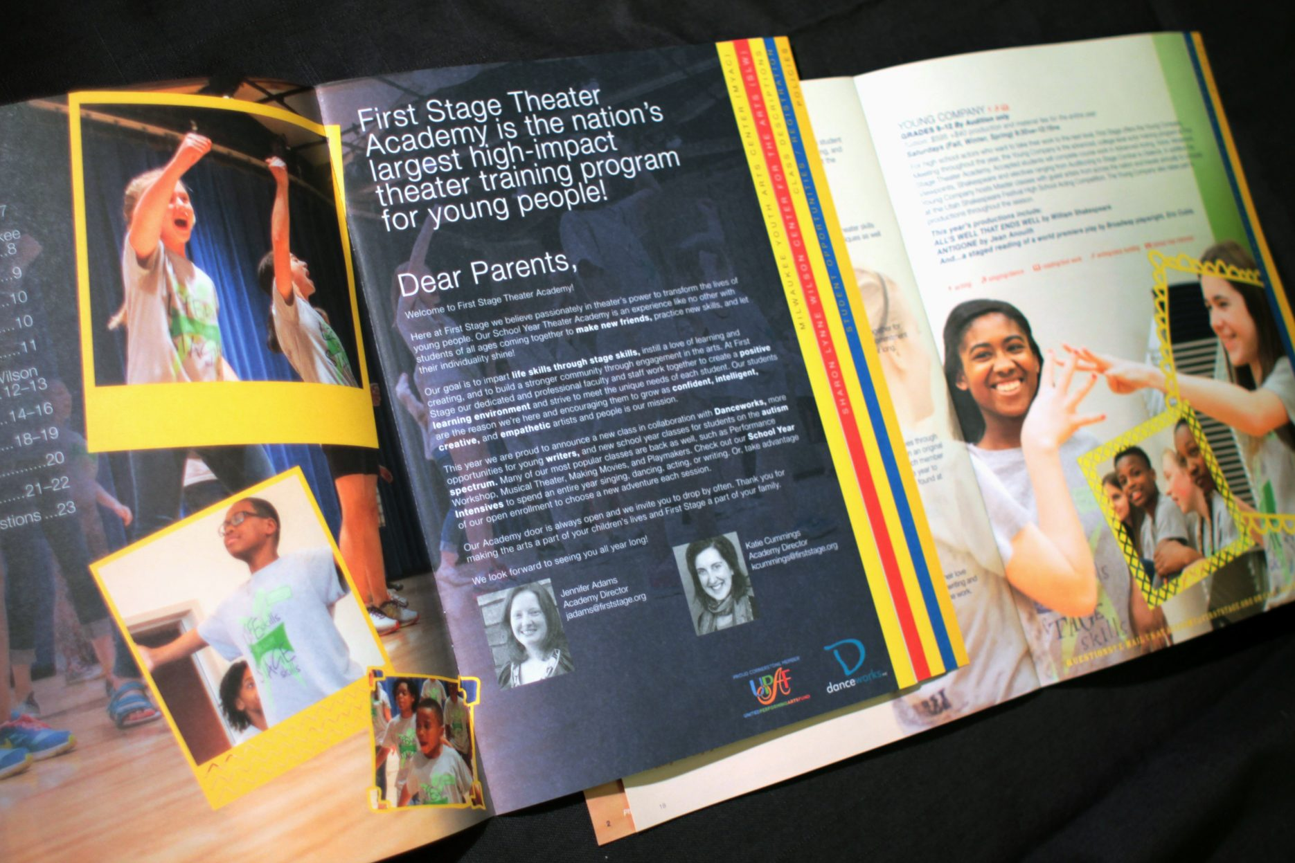 First Stage Theater Academy brochure spread